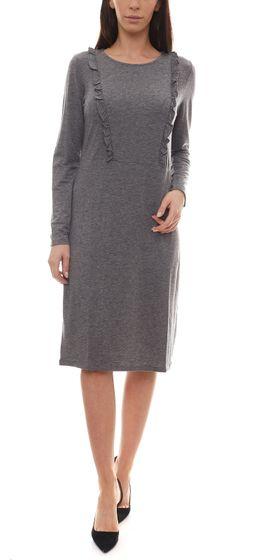 People Tree Indira Jersey-Kleid sportliches Damen Kleid mit Rüschenbesatz Grau