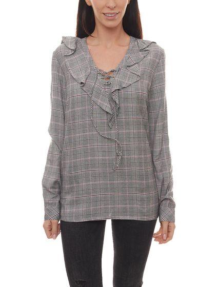 AjC Bluse karierte Damen Shirt mit Rüschen und Schnürung am Ausschnitt Hemd Grau-Schwarz