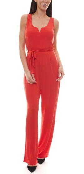 melrose Overall fein fließender Damen Jumpsuit mit Taillenband Rot