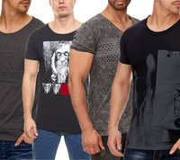 Tazzio Fashion Rundhals-Shirts modische Herren V-Neck T-Shirts mit coolen Prints