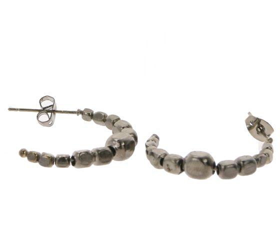 PEARLS FOR GIRLS Ohrringe halb geöffnete Kreolen für Damen Anthrazit