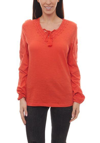 Aniston Langarm-Shirt figurumspielendes Damen Sommer-Shirt im Leinenlook Orange