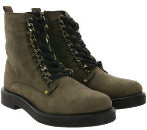 ONYGO Megan Damen Echtleder-Stiefel moderne Reißverschluss-Boots Khaki