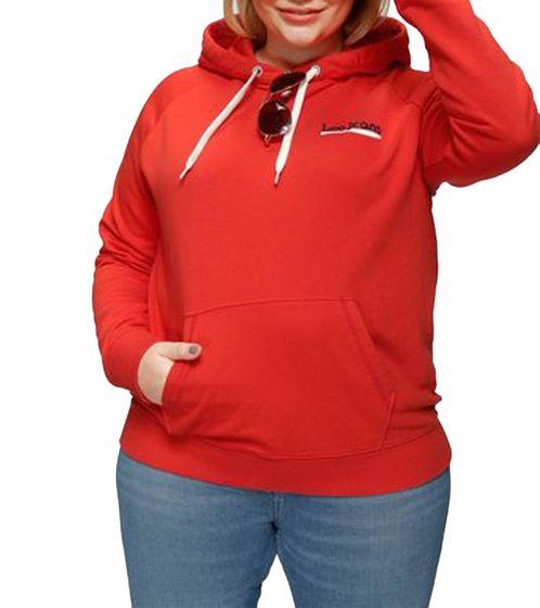 Lee Hoodie auffälliger Damen Kapuzen-Pullover mit Känguru-Tasche Rot
