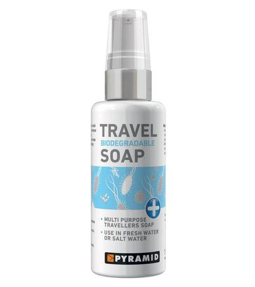 PYRAMID Travel Seife konzentrierte, vielseitige Flüssigseife für Körper, Haare und Bekleidung 250 ml