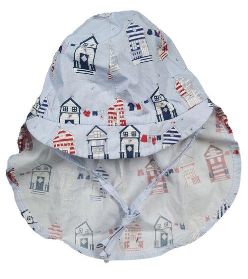 maximo Safari-Mütze süßer Kleinkinder Sonnen-Hut mit maritimem Häuser-Print Hellblau