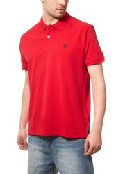 U.S. POLO ASSN. Men´s Polo Shirt Red Piqué 001
