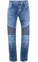 Tazzio Fashion Biker Herren Jeans Blau Slim Fit Used 001