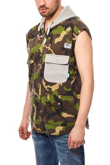 Sweet SKTBS Vest Fisherman Men´s Hooded Vest Green in camouflage look