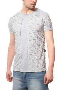 CARISMA Cut Herren T-Shirt Grau Ripped Slim Fit