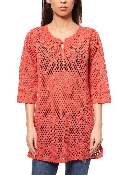 BOYSENS Tunique en maille dames Ajour motif rouge