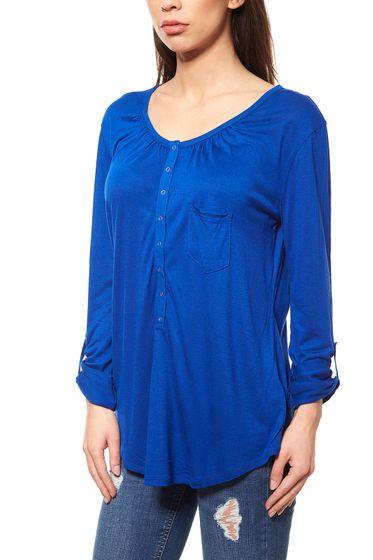 Laura Scott Damen Sportliches Longsleeve Bluse Blau