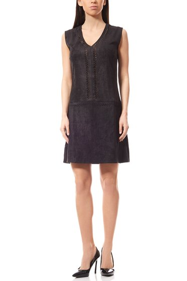 Laura Scott Mini Dress Faux Leather Dress Black