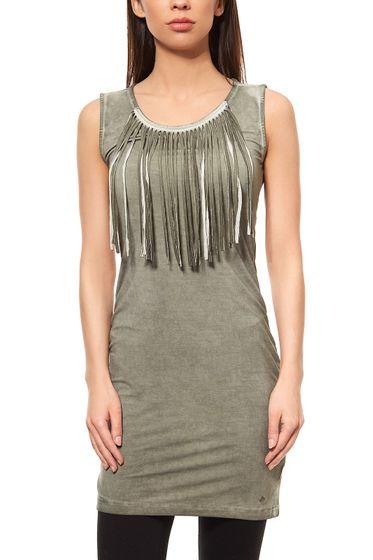 AjC Womens Fringe Dress Jersey Dress Mini Green