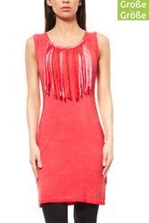 AjC Damen Mini Fransenkleid Freizeitkleid Große Größen Rot