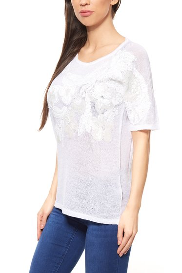 Sequin Pullover White ashley brooke by heine