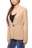 bruno banani Blazer kragenloser Damen Jersey-Blazer mit V-Neck Beige