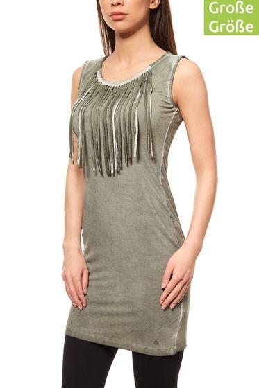 AjC Womens Fringe Dress Jersey Dress Mini Green Large sizes
