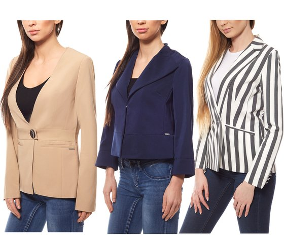 bruno banani Ladies Short Blazer Blazer collarless & striped