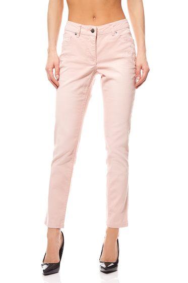 Tissu Pantalons Fleurs Broderie Dames Rose Aniston