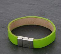 Armband Lederoptik Damen PEARLS FOR GIRLS Grün 001
