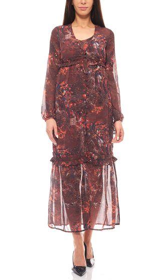Laura Scott en mousseline de soie robe maxi boho regarder taille courte multicolore