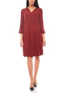 romantisches Kleid Stickereikleid Knielang Jerseykleid Bordeaux rick cardona