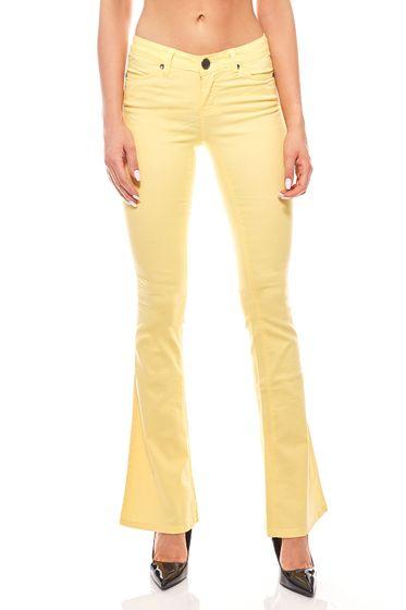AjC stretch pantalon femmes jeans jaune