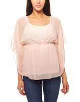 Bluse mit Top 2 in 1 Set Perlen Ausschnitt Rosa vivance collection 001