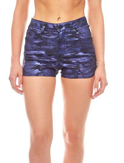 pieces Sommer-Shorts Camouflage glänzend Funky Hilary Blau