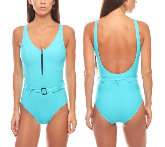 Belly off swimsuit with belt D-cup ladies turquoise heine