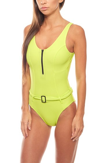 Belly off swimsuit with belt D-cup ladies kiwi green heine