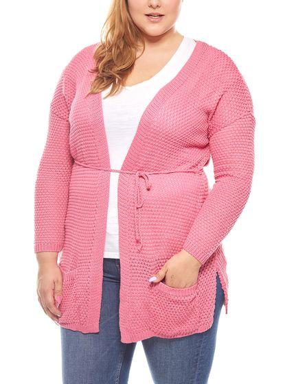 rick cardona Pullover Grobstrick Jacke Damen Große Größen Rosa