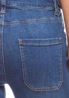Schlichte High Waist Jeans mit aufgesetzten Taschen Kurzgröße Blau ARIZONA