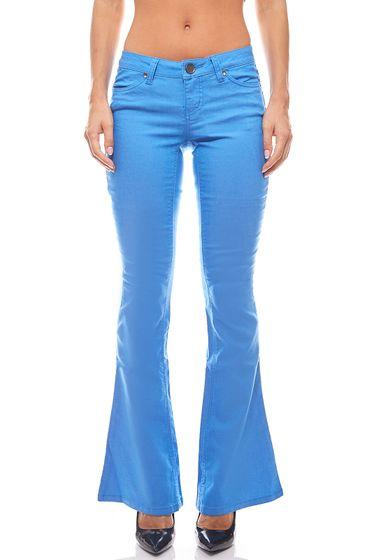 Bootcut Jeans Pantalons dété Taille courte Femmes Bleu AjC