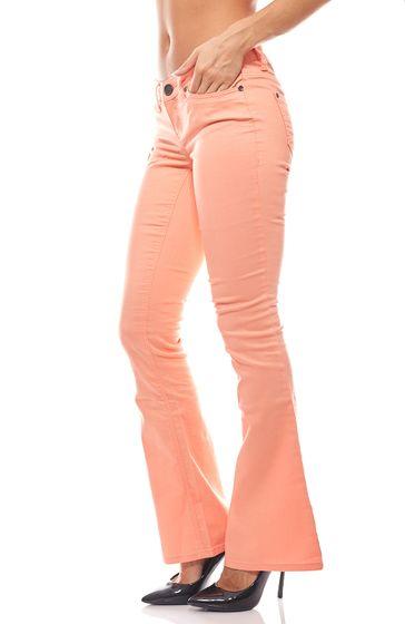 Schlaghose Bootcut Jeans Kurzgröße Damen Orange AjC