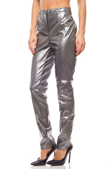 SINGH S MADAN Skinny Faux Leather Trousers Metallic Silver