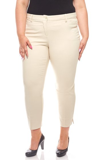 Business trousers with hem slit ladies Large sizes Beige sheego