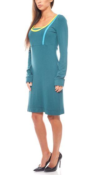 sportliches Mini Jerseykleid lange Ärmel Grün vacuum