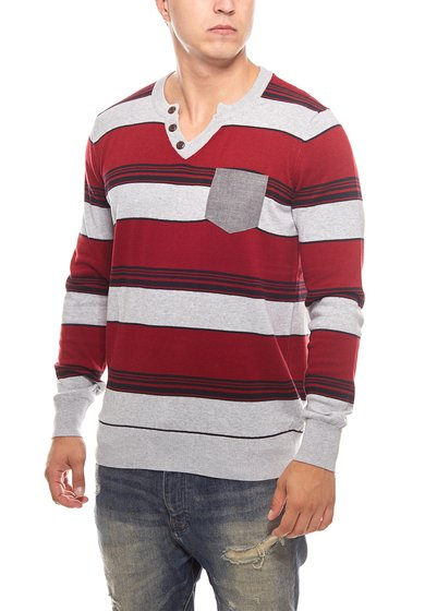 striped rib knit sweater men red MAUI WOWIE