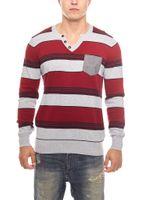 gestreifter Herren Rippstrick-Sweater Rot MAUI WOWIE – Bild 2