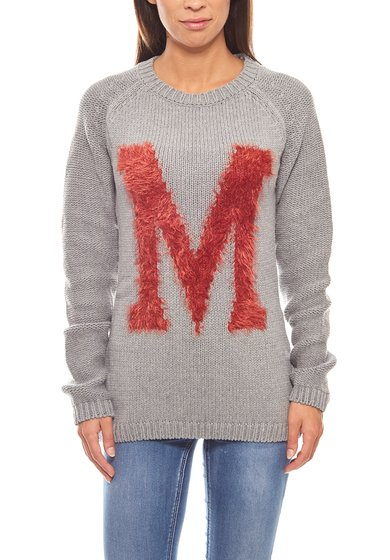 Trendy Knitted Sweater Letter Print Ladies Gray MAUI WOWIE