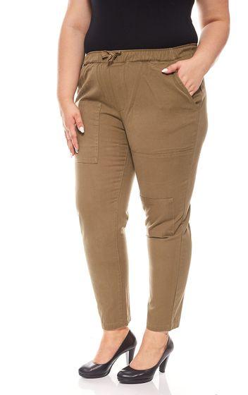 78 cotton trousers Large size ladies summer khaki aniston