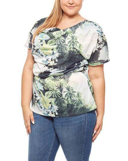 bruno banani Damen-Shirt Sommershirt Wasserfall Tunika Große Größen Grün