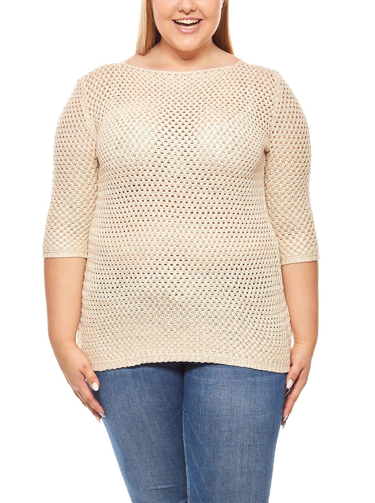 Damen 3 4 Pullover Große Größen Beige ashley brooke eb599dd9f5