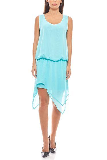 asymmetrisches Chiffon-Kleid Trägerkleid Türkis heine