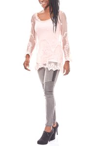 ashley brooke Schulterfreie Spitzenbluse und Top transparent Rosa