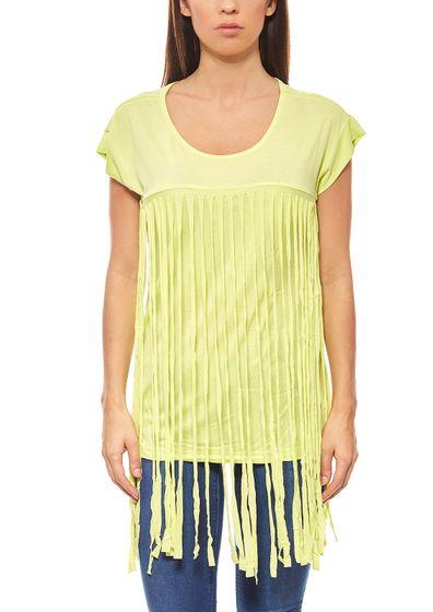 Aniston dames chemise à franges avec vert solide