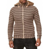 Tazzio Fashion Herren Strickjacke Hoody Bison 001