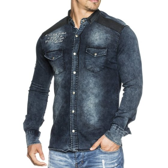 Tazzio Fashion Herren Jeans Hemd Slim Fit Blau